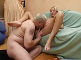 Amateur blonde with small tits in home video