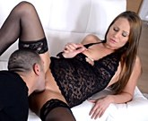 Angel Blade – Passionate pussy pounding on white couch