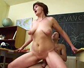 Mature biology teacher with big tits loves fucks with a young cock