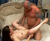 Young sexy brunette Elisa gets old dick