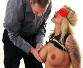 Busty blonde Ryan Conner has submissive sex
