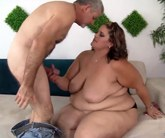 Fat girl plays with a dick before getting fucked from behind