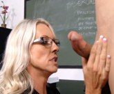 Sex teacher in glasses Emma Starr fuck a hard in the classroom