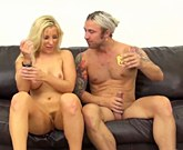 Hot sexy blonde Ashley Fires rimmed before blowjob then gets cumshot over ass
