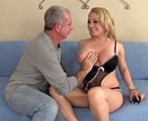 Young blonde girl with big tits fucked and cum in her mouth on couch